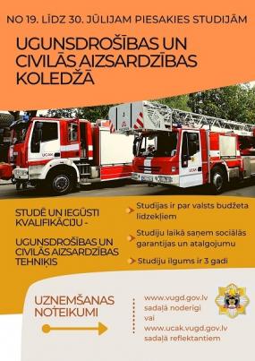 19.jūlijā sākas jauno studentu uzņemšana Ugunsdrošības un civilās aizsardzības koledžā
