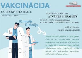 Atvērts pieraksts vakcinācijai Ogres sporta hallē