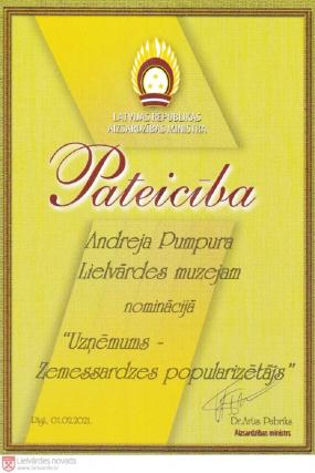 Andreja Pumpura Lielvārdes muzejs saņem Zemessardzes atbalstītāju godināšanas balvu