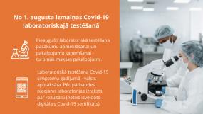 No 1. augusta izmaiņas Covid-19 laboratoriskajā testēšanā